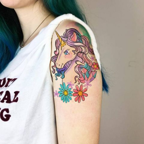 unicorn tatoo on arm tatooly temporary tattoos