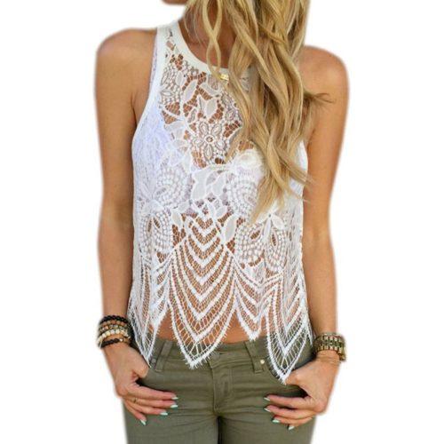 Women's Clothing Nice Summer Crochet Lace Sleeveless Elegant Chiffon Shirt V-neck Women Blouses Grade Products According To Quality