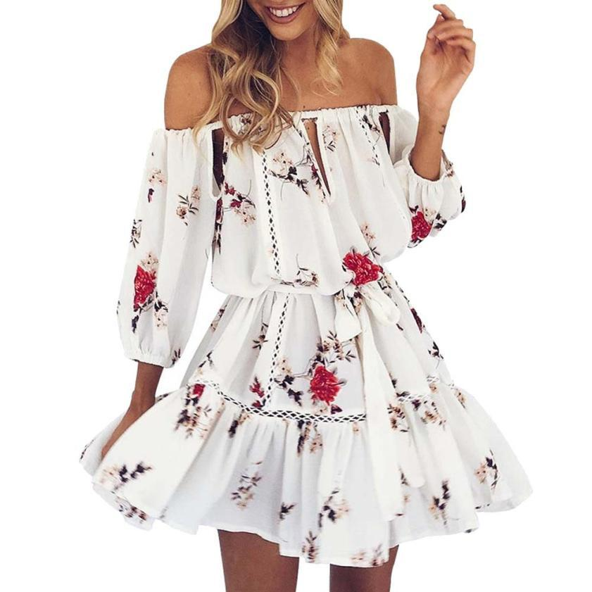 7911cb9fc82 Beautiful white Fashion Floral print Summer Dress Womens Off Shoulder  Sundress Three Quarter Sexy Slash Neck Party Beach Short Mini Dress